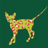 Странная зеленая печать кота леопарда иллюстрация штока