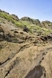 Странные утесы на пляже Yoengmeri в Jeju Стоковые Изображения RF
