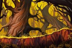 Странный лес дерева иллюстрация штока