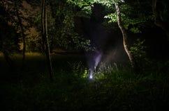 Странный силуэт в темном пугающем лесе на ноче, светах мистического ландшафта сюрреалистических с страшным человеком Стоковое Изображение RF