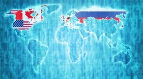 Страны Большой Восьмерки на карте мира Стоковые Изображения RF