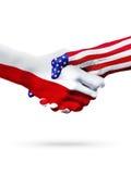 Страны флагов Польши и Соединенных Штатов, overprinted рукопожатие Стоковая Фотография
