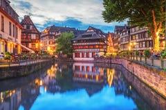 Страсбург, маленькая Франция на вечере Стоковые Фото