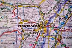 Страсбург на карте Стоковая Фотография RF