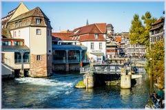 страсбург Франции Взгляд на каналах меньшего района Франции Стоковое Изображение