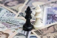 Стратегия, белизна и чернота финансов денег мира беспроигрышной ситуации Стоковые Изображения RF