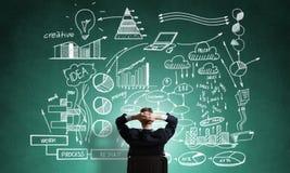 Стратегия бизнеса чертежа бизнесмена Стоковое Фото
