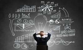 Стратегия бизнеса чертежа бизнесмена Стоковое Изображение