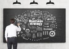 Стратегия бизнеса чертежа человека, классн классный Стоковая Фотография