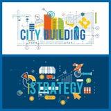 Стратегия концепции финансовые, анализ возможностей производства и сбыта и планирование, строительная конструкция иллюстрация вектора