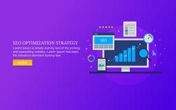 Стратегия оптимизирования двигателя Serach, анализ данных seo, оптимизирование скорости вебсайта, содержание, отзывчивый дизайн стоковое изображение