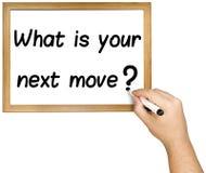 Стратегия Whiteboard следующего шага дознания сочинительства руки стоковая фотография rf