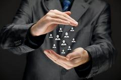 Страхование клиента, принципиальная схема заботы Стоковое Фото