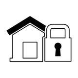 Страхование дома с значком изолированным padlock Стоковое Изображение RF