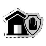Страхование дома с значком руки изолированным стопом Стоковые Изображения RF