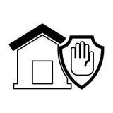 Страхование дома с значком руки изолированным стопом Стоковые Изображения