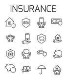 Страхование связало комплект значка вектора бесплатная иллюстрация