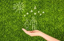 Страхование семейной жизни, защищая семья, концепции семьи elderl стоковые изображения rf