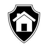 Страхование экрана с значком изолированным домом Стоковые Фотографии RF