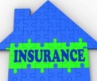 Страхсбор дома показывает домой защищено и застрахованный иллюстрация вектора