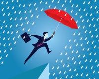 страхсбор принципиальной схемы бизнесмена защищает женщин зонтика предохранения Бизнесмен и зонтик вектор иллюстрация штока