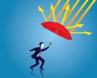 страхсбор принципиальной схемы бизнесмена защищает женщин зонтика предохранения Бизнесмен и зонтик вектор иллюстрация вектора