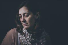 Страх, одиночество, депрессия, злоупотребление стоковая фотография