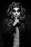 Страшная злая девушка клоуна Стоковые Изображения