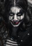 Страшная злая девушка клоуна Стоковые Фотографии RF