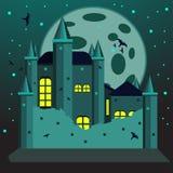 Страшная иллюстрация замка для карточки приглашения хеллоуина стоковое фото