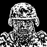 Страшная концепция солдата зомби также вектор иллюстрации притяжки corel Стоковые Фотографии RF