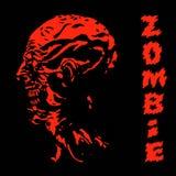 Страшная кричащая голова красного цвета зомби также вектор иллюстрации притяжки corel Стоковая Фотография