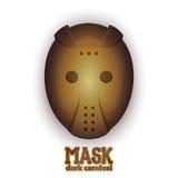 Страшная маска масленицы хоккея Иллюстрация вектора на белой предпосылке Стоковые Фото