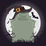 Страшная надгробная плита и черная шляпа ведьмы на хеллоуин party украшение вектор Стоковые Фото