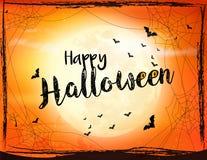 Страшная предпосылка хеллоуина с летучей мышью, пауком и луной бесплатная иллюстрация