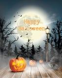 Страшная предпосылка хеллоуина с тыквами и луной бесплатная иллюстрация