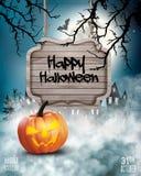 Страшная предпосылка хеллоуина с тыквой и деревянным знаком иллюстрация вектора