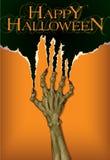 Страшная рука зомби хеллоуина Стоковое Изображение