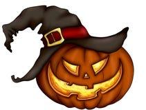Страшная сторона тыквы в шляпе ведьмы на белой предпосылке иллюстрация штока