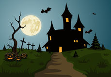 Страшная сцена предпосылки хеллоуина с замком и луной Стоковые Изображения RF