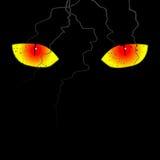 Страшные глаза на черной предпосылке иллюстрация штока