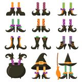 Страшные ноги ведьмы Чулки ноги ведьм хеллоуина и striped платье Винтажный котел колдовства и ноги шаржа ботинок иллюстрация штока