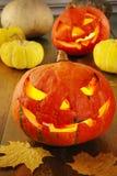 Страшные тыквы хеллоуина Стоковые Фотографии RF