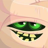 Страшный вектор стороны мумии изверга шаржа Милое квадратное воплощение или значок ноча луны иллюстрации halloween стоковое изображение rf