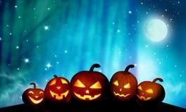 Страшный Джек-o-фонарик тыкв в ноче иллюстрация штока