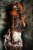 Страшный женский клоун Стоковая Фотография
