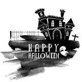 Страшный замок для счастливого торжества хеллоуина Стоковые Изображения