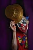 Страшный злий клоун на этапе Стоковые Фото