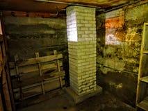 Страшный подвал покинутого здания Стоковая Фотография