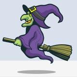 Страшный шарж broomstick катания ведьмы Стоковые Изображения